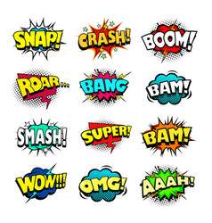 Superhero comic book sounds bubble set vector
