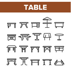 table desk collection elements icons set vector image