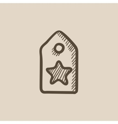 Tag with star sketch icon vector