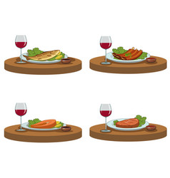 tasty food and red wine vector image