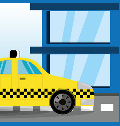 Taxi car transportation offering a service vector