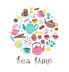 tea time circle composition vector image