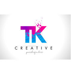 Tk t k letter logo with shattered broken blue vector