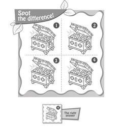treasure chest spot the difference black vector image