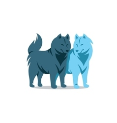 Two Husky Dog Cartoon vector