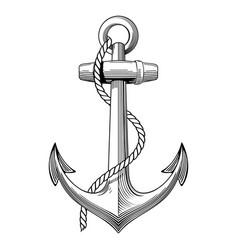 Vintage hand drawn anchor nautical navy vector
