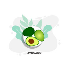 whole and cut in half avocado with pit vector image