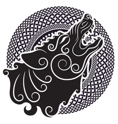 Wolf on celtic style howling in celtic vector