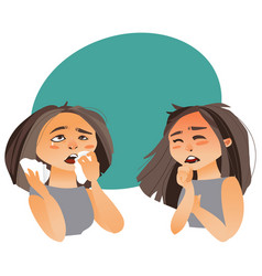 Woman having flu symptoms - runny nose cough vector