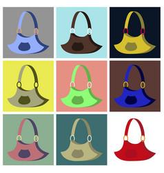 Assembly flat icons handbag vector