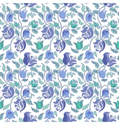 Blue and teal tulip and rose floral textile vector image vector image