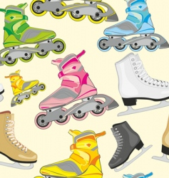 isolated roller and ice skates vector image vector image