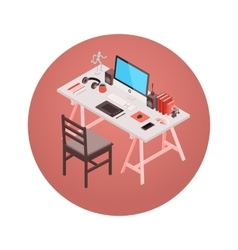 Isometric designer workplace vector image