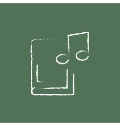 Music book icon drawn in chalk vector