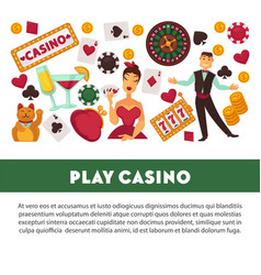 play casino promotional poster with equipment for vector image