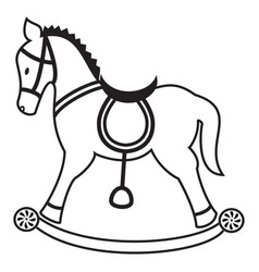 Rocking horse plain in black and white vector image vector image