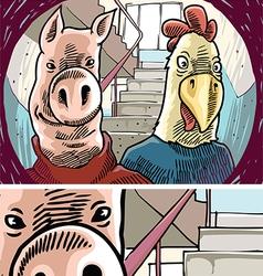Strange Visitors Behind the Door vector image
