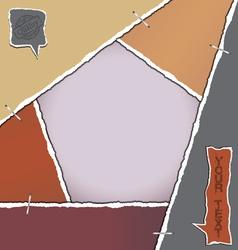 Torn paper pentagon background vector image