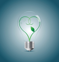 Bulb lamp with green sprout inside vector image