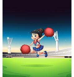 Cheerleader on Field vector image vector image