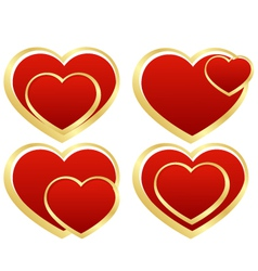 set of stylized hearts vector image