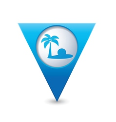 beach icon on map pointer blue vector image vector image