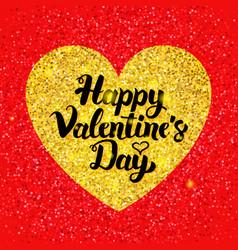 happy valentines day glitter postcard vector image