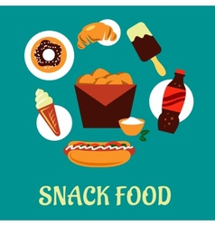 Snacks set with fast food elements vector image vector image