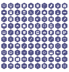 100 compass icons hexagon purple vector image vector image