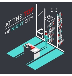 Businessman at the top of a night city in vector