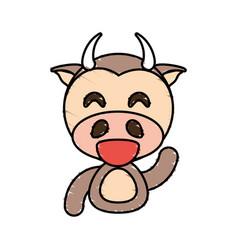 draw cow animal comic vector image vector image