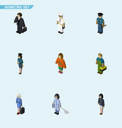 isometric human set of officer investor girl and vector image vector image