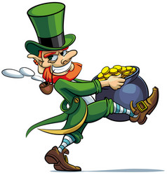 leprechaun stealing pot of golden coins vector image vector image
