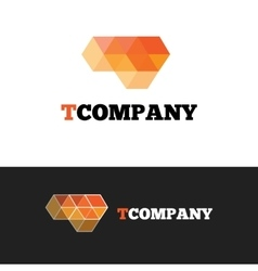 modern orange T letter logo Abstract cubes vector image vector image