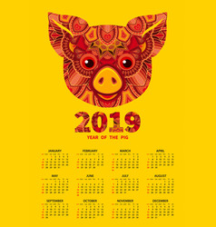 2019 year of the pig calendar vector image