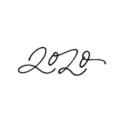 2020 pen number calligraphy inscription vector image