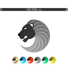 abstract lion logo grey edition vector image