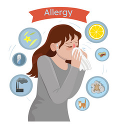 Allergy triggers girl with allergies blows her vector