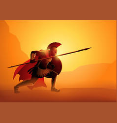 Ancient greek warrior in ready to fight position vector