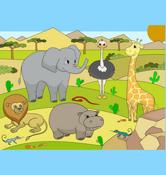 Animals of africa savanna for adults vector