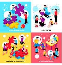 Autism isometric design concept vector