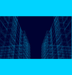 background with wireframe polygonal buildings on vector image