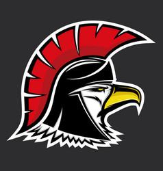 bald eagle in a spartan helmet vector image