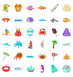 beach rest icons set cartoon style vector image