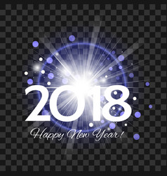 beautiful blue fireworks with happy new year 2018 vector image