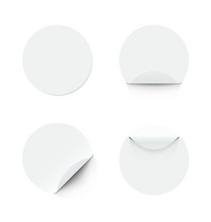 blank white round adhesive stickers with curved vector image