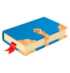 blue book with golden corners and safe lock vector image