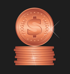 Bronze coin detailed vector