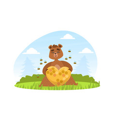 brown bear sitting on green lawn and holding vector image