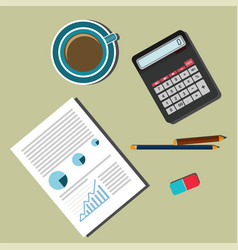 business desk office supplies series vector image